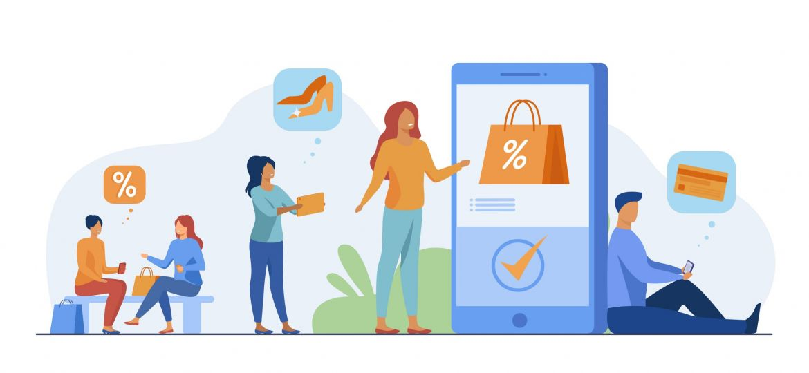 Customers with smartphones shopping online