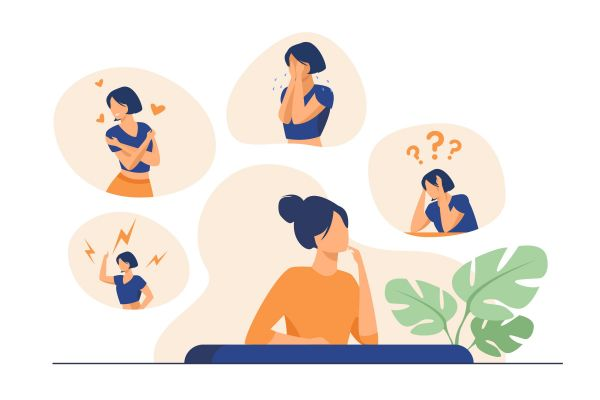 Woman expressing strong various feelings and emotions. Girl suffering from distracted behavior and mood changes. Vector illustration for mental disorder, psychology, stress, crisis concept